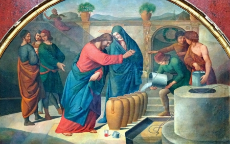 Wedding at Cana - water, Mary, Christ, Jesus, well, miracle, disciples, wedding
