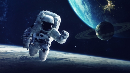 Floating in Space - man, earth, moon, sky, space, astronaut, Firefox Persona theme, planet