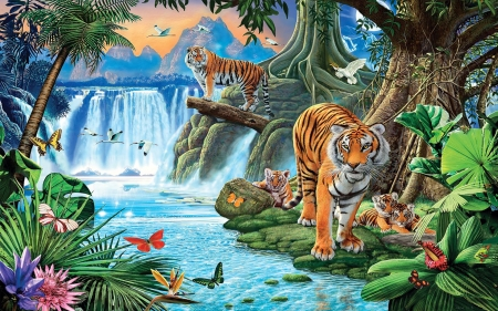 Tigerworld - cubs, river, artwork, painting, butterflies, waterfall, tigers, birds