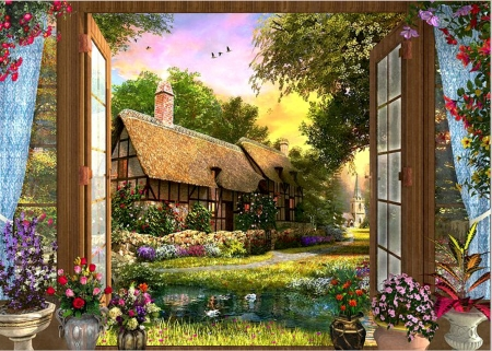 Country Cottage View - painting, birds, house, trees, artwork, flowers, garden, sky, window