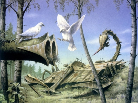 Doves Serreal - painting, art, serreal, birds
