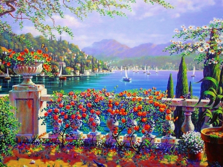 Italy - red, painting, blue, pictura, summer, boat, flower, art, sea, italy, terrace, luminos, water