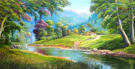 Natural Happiness - attractions in dreams, love four seasons, summer, trees, panoramic view, houses, paradise, beautiful life, falls, paintings, nature, Brazilian rivers, rivers
