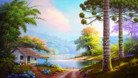 Riverside Cottage - rivers, walkway, attractions in dreams, love four seasons, cottages, flowers, summer, trees, landscapes, riverside, panoramic view, paradise, paintings, nature