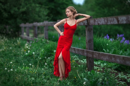 Model in Red - red, model, dress, blonde, outdoors