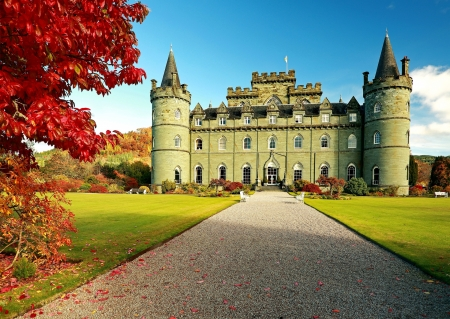 Inverary Castle at Autumn, Scotland - tree, ancient, famous, building, sky