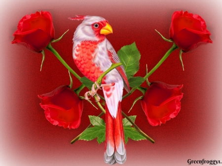 BIRD WITH FOUR ROSES - BIRD, RED, CREATION, ROSES