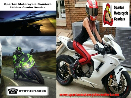 Spartan Motorcycle Couriers - motorbike, biker chick, courier, motorcycle, transportation, biker babe
