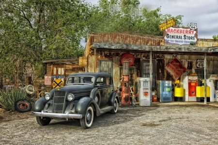Hackberry General Store - Route 66 - car, petrol, hut, photography, gas station, arizona, gas pumps, wheel