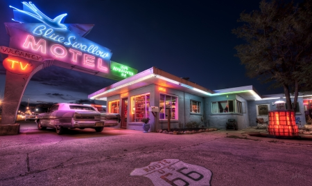 Blue Swallow Motel - Route 66 - lights, usa, night, car