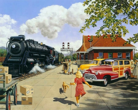 Here at Last - steam, painting, woman, child, train, vintage, car, artwork, station