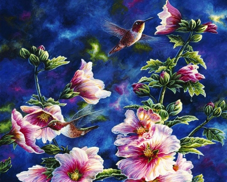 Hollyhocks and Hummingbirds - painting, artwork, flowers, blossoms, birds