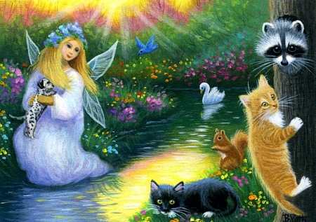 Magical Evening at the Pond - sunset, fairy, painting, artwork, swan, river, kitty