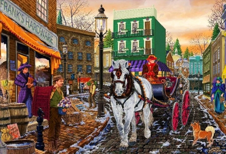 Frank's Hardware - horse, street, painting, artwork, cart, people, town