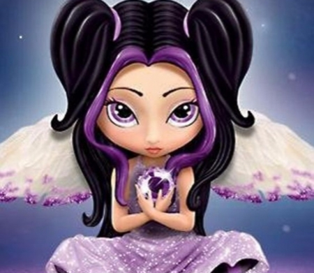 Purple And Black Fairy - Purple, Fantasy, Abstract, Black, Eyes