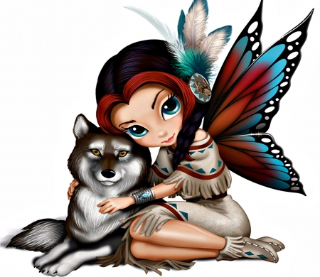 Wolf Fairy - Arts, Digital, Faries, Winged Creature, Abstract
