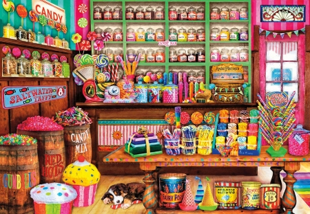 Sweet place - puppy, painting, pink, pictura, sweet, shopp, art, candy, colorful, sleep, cupcake, luminos, place