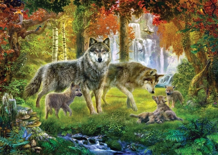 Wolves - painting, autumn, pictura, luminos, green, wolf, orange, lup