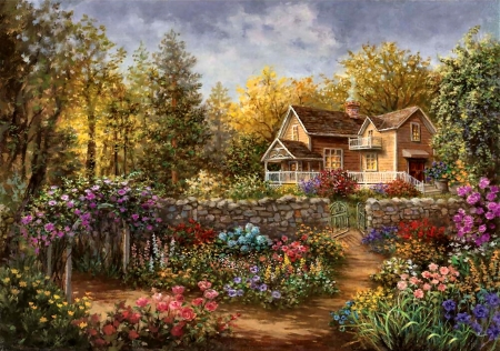 Pathway of Color - Cottage F1C - artwork, painting, art, illustration, architecture, wide screen, flowers, scenery, garden, beautiful, cottage, landscape