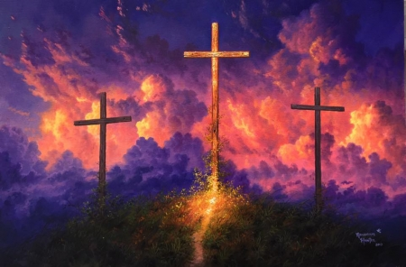 Old Rugged Cross - colors, clouds, crosses, painting, artwork, path, hill, sky