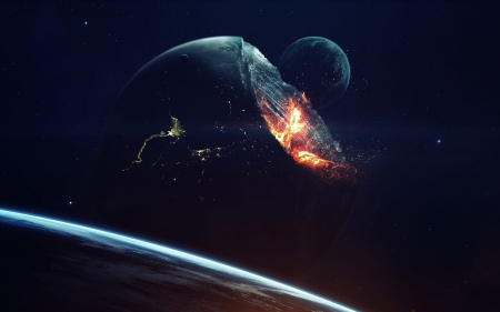 Not a Perfect Sphere - Vadim Sadovski, 3d, galaxy, digital art, stars, planets, moons