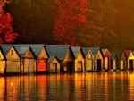 Floating Houses on River at Dawn