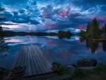 Forest Lake in Norway at Twilight