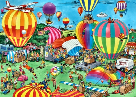 The Balloon Festival F - painting, scenery, flight, aviation, illustration, art, balloons, wide screen, artwork, beautiful, aircraft