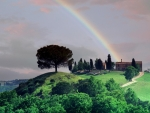 Rainbow Over a Tuscan Farm