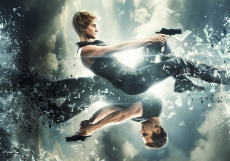Insurgent (2015) - fantasy, actor, movie, actress, blue, insurgent, man, couple, girl, gun, poster, Theo James, divergent, Shailene Woodley, saga