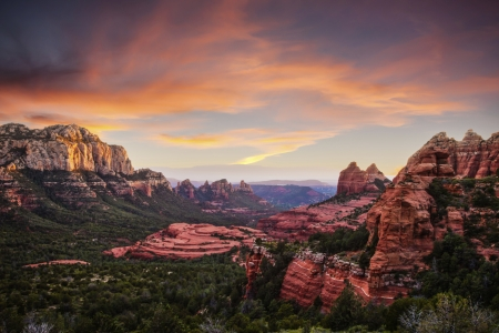 Sedona Canyons - desert, mountains, sunset, clouds, landscape, sky