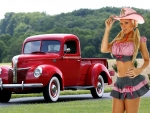 Cowgirl Carrie LaChance and a 1941 Ford Pickup
