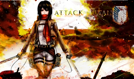Mikasa - Anime, Titan, on, Attack