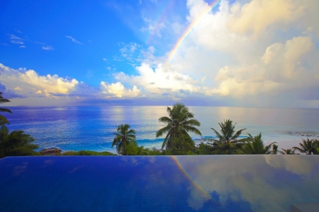 Rainbow over Tropical Ocean - Tropical, Sea, Clouds, Nature, Palms, Sky, Oceans, Rainbows, Beaches