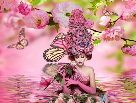 Flowers in her hair - beautiful, pink, floral, lovely, pretty, women, water, female, girl, woman, flowers in her hair, butterflies, feminine, flowers, breathtaking, creative, artistic, gorgeous, stunning