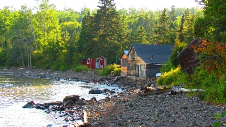 Lakeside Houses - lake, houses, cabin, rocks, forest, nature, trees