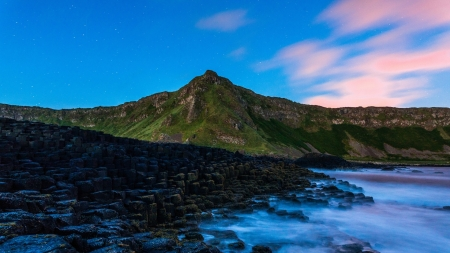 Twilight Rocky Shore - Sea, Sunsets, Nature, Rocks, Twilight, Mountains, Sky, Oceans, Beaches