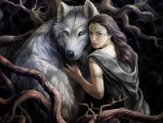 Dire Wolf and Girl in Forest