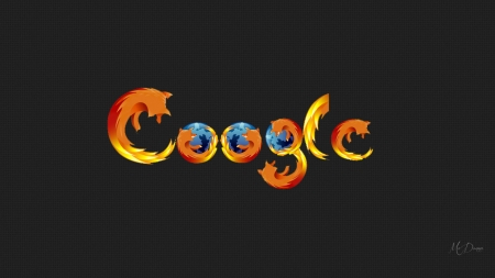 Google on Firefox - broswser, Firefox, Google, search engine, fox, Firefox Pesona theme, artistic