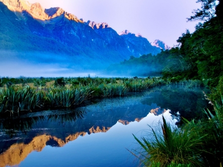 Mirror Lake - mirror, lake, sunrise, mountains, nature, mist, reflection, trees