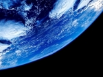 Earth seen from below in space