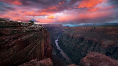 Grand Canyon Twilight - Nature, Twilight, Rivers, Mountains, Sky, Clouds, Canyons, Sunsets