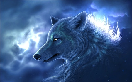 Wolf Guardian - cool, clouds, blue, animals, mystic, gorgeous, warm, light, wolf, spirit, night, stars, animal, beauty, abstract, love, great, eyes, bright, guardian, sky, awesome