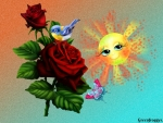 BUTTERFLY,ROSE AND BIRD