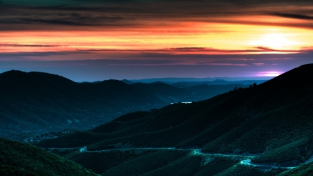 Mountain Lights - sunset, drive, scenic, Firefox Persona theme, mountains, road, valley, lights, fog, sky, mist