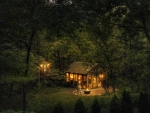 Cabin in the Woods at Dusk