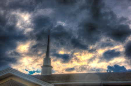 The Heavens Above - church, The Heavens Above, cross, heavens, christian, hdr