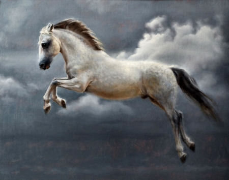 Cheval Celeste - artwork, painting, art, equine, animal, illustration, wide screen, beautiful, Marina Dieul, Dieul, horse