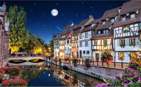 Strasbourg, France - river, bridge, moon, lights, houses, reflections, night