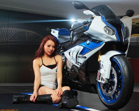 bmw s1000rr hp4 - bmw, motorcycle, asian, girl